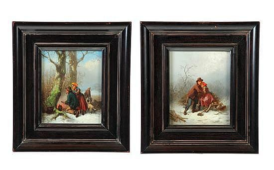TWO WINTER SCENES BY FERDINAND MAROHN (FRANCE, ACT. 1839-1842).