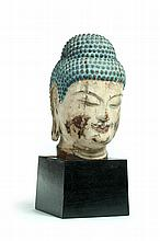 CARVED WOODEN BUST OF BUDDHA.