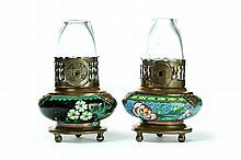 TWO SMALL CLOISONNE LAMPS.