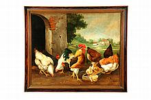 LANDSCAPE WITH CHICKENS (AMERICAN SCHOOL, 20TH CENTURY).