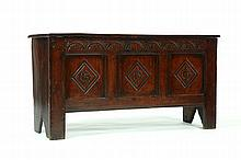 WILLIAM AND MARY CARVED COFFER.
