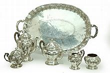 SILVER TEA AND COFFEE SERVICE.