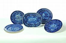 SIX HISTORICAL BLUE STAFFORDSHIRE PLATES AND ONE PLATTER.