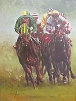 GRAHAM ISOM: (1945) Horse race depicting pack of