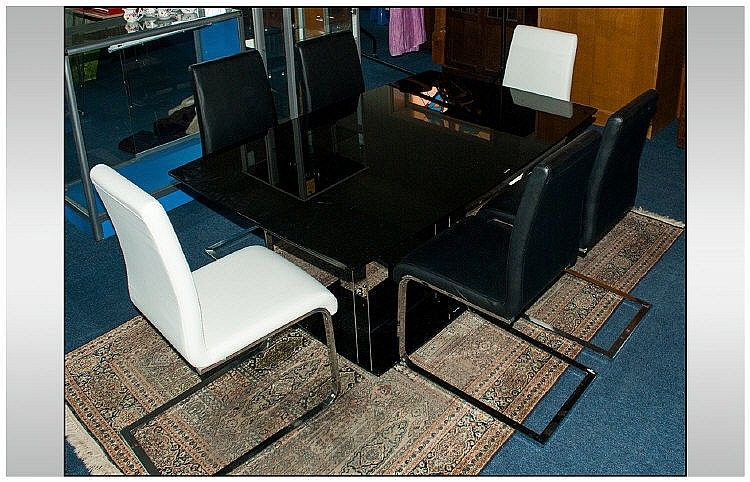 Contemporary Glass Dining Room Table With Electric Extension