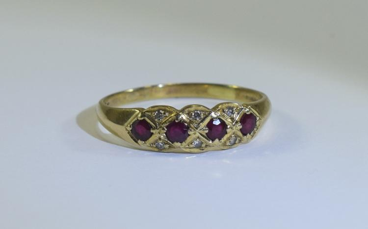 A Fine Quality 9ct Gold Ruby and Diamond Dress Rin