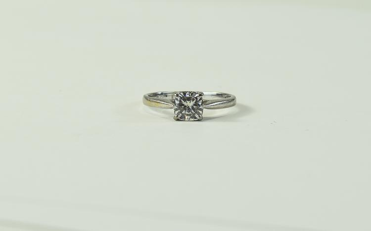 18ct White Gold Single Stone Diamond Ring, Marked