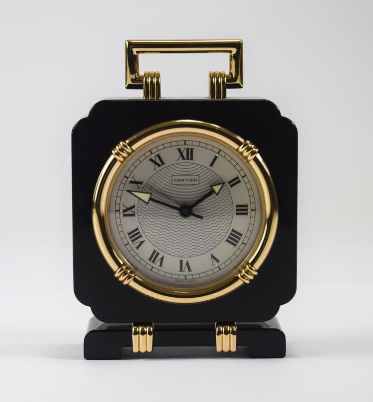 Cartier Black Lacquer and Gilt Square Desk Clock w