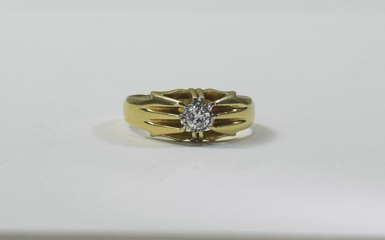 Gents 18ct Gold Set Single Stone Diamond Ring, Gyp