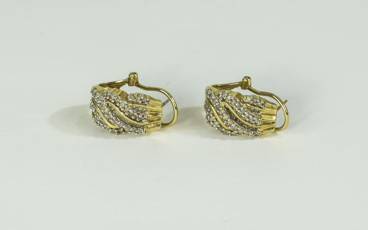 Ladies Pair of 9ct Yellow Gold Diamond Set Earring