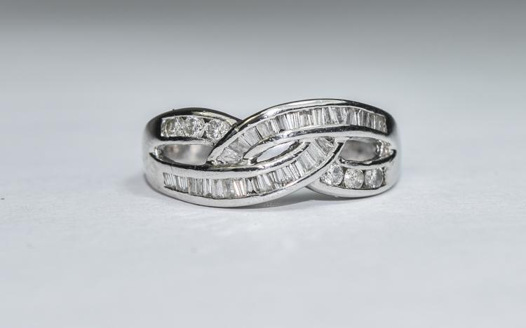 18ct White Gold Set Criss Cross Baguette and Brill