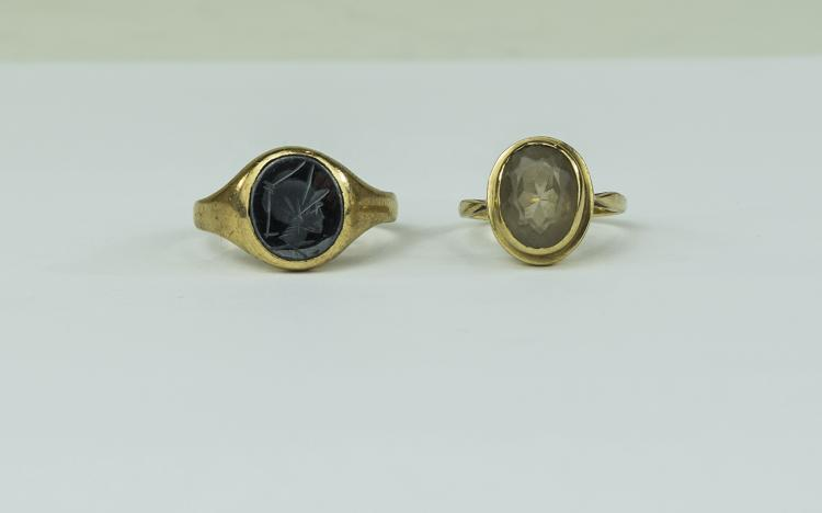 Two 9ct Gold Stone Set Dress Rings. Fully Hallmark