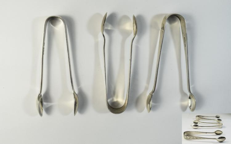 A Collection of Vintage Silver Sugar Nips ( 3 ) In