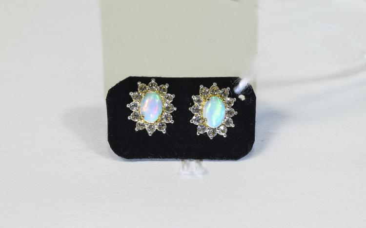 Natural Opal and White Topaz Stud Earrings, each e