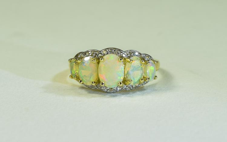 Natural Opal and and White Zircon Ring, five gradu