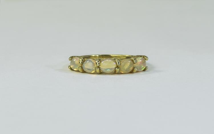 Natural Ethiopian Opal Band Ring, a row of five ov