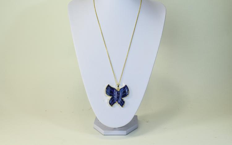 Purple Agate Butterfly Pendant, hand carved and ed