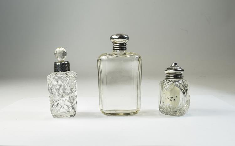 Early 20th Century Silver Topped Glass Perfume Bot