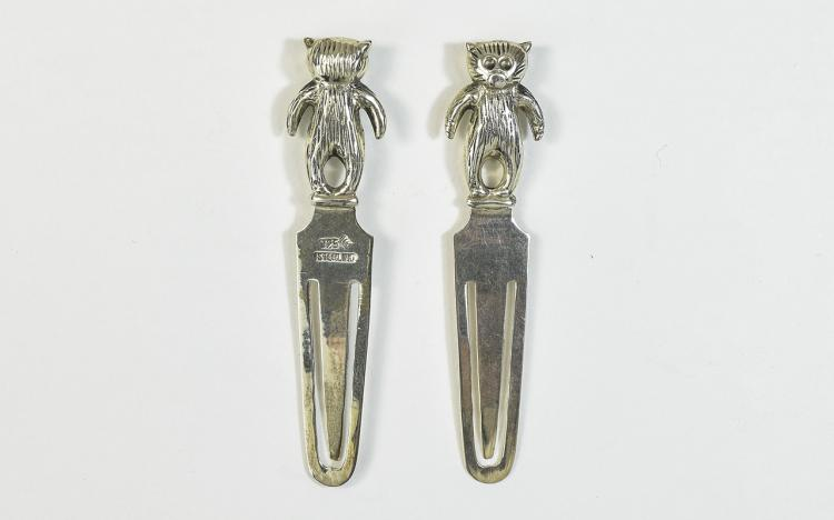 A Pair of Vintage Silver Page Markers. Marked Silv
