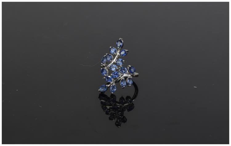 Sapphire 'Leaves' Crossover Ring, two branches fil