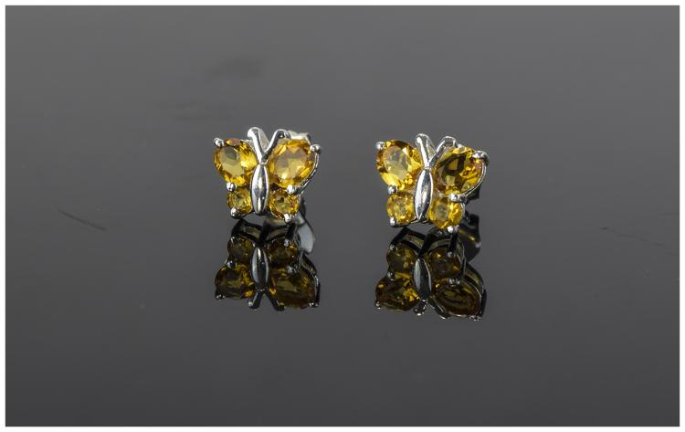 Citrine Butterfly Stud  Earrings, two oval and two