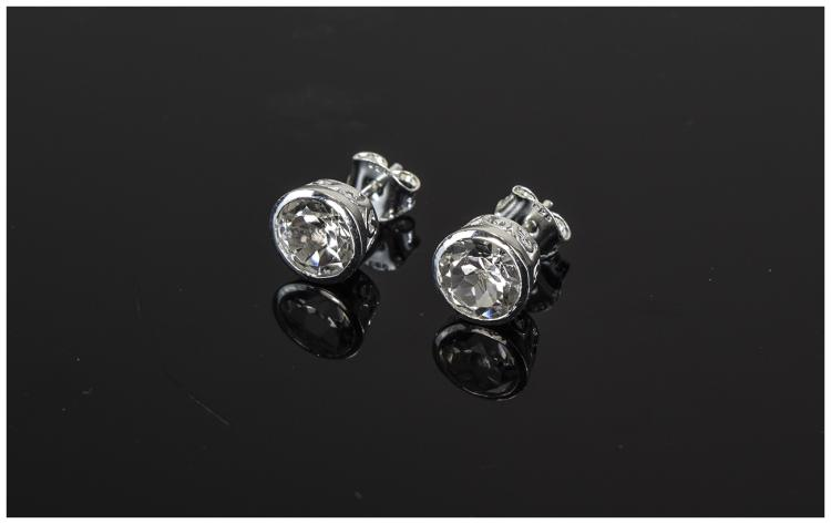 White Topaz Stud Earrings, each round cut white to