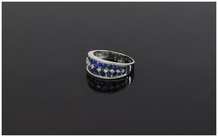 Sapphire and White Zircon Band Ring, two rows of g