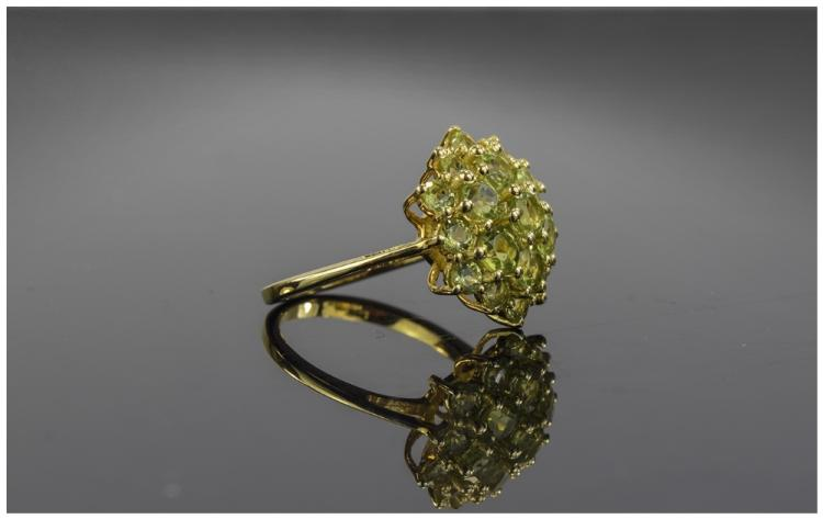 Peridot Cluster Ring, two tiers of round cut perid