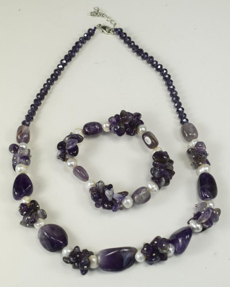 Amethyst and White Fresh Water Pearl Necklace and