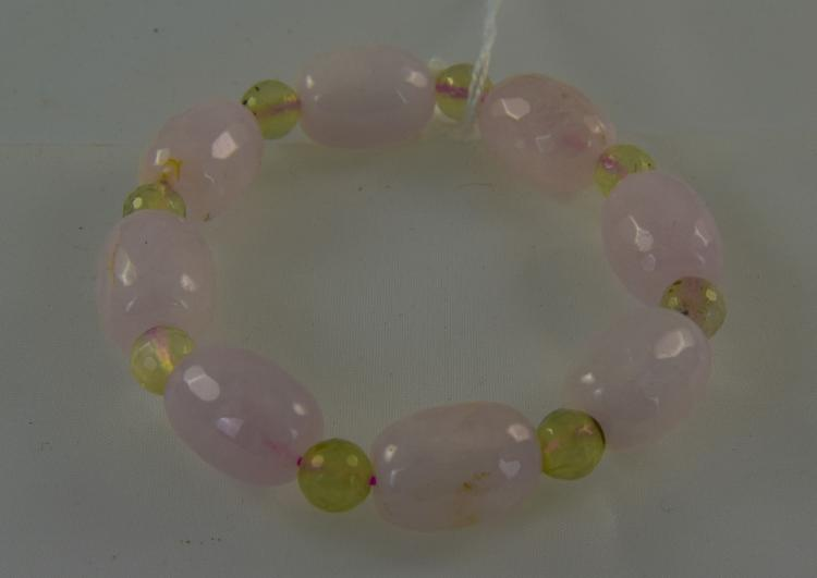Rose Quartz and Prehnite Bracelet, faceted ovoid b