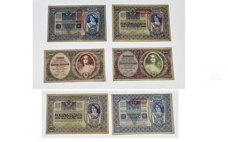 Austrian / Hungarian Six High Grade Bank Notes. 1/