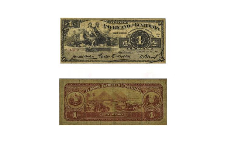 Banco Americano Guatemala Scarce 1 Peso Bank Note,