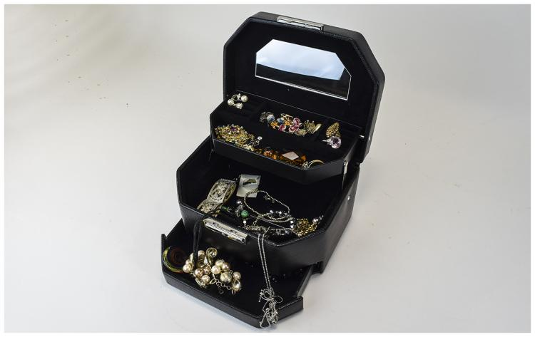 Black Jewellery Box containing a selection of cost