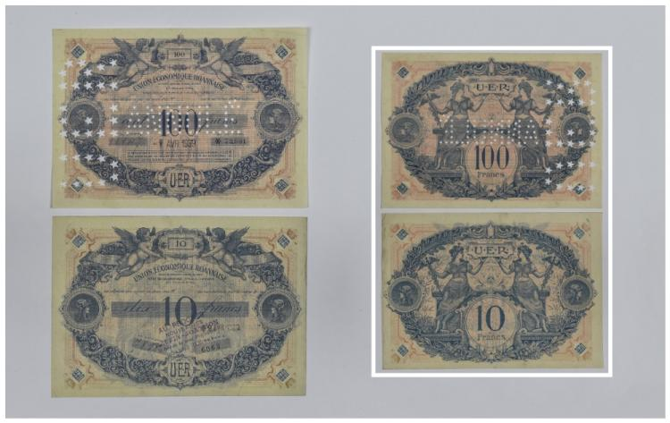 Union Economique Roannaise UER. 100 Francs notes,