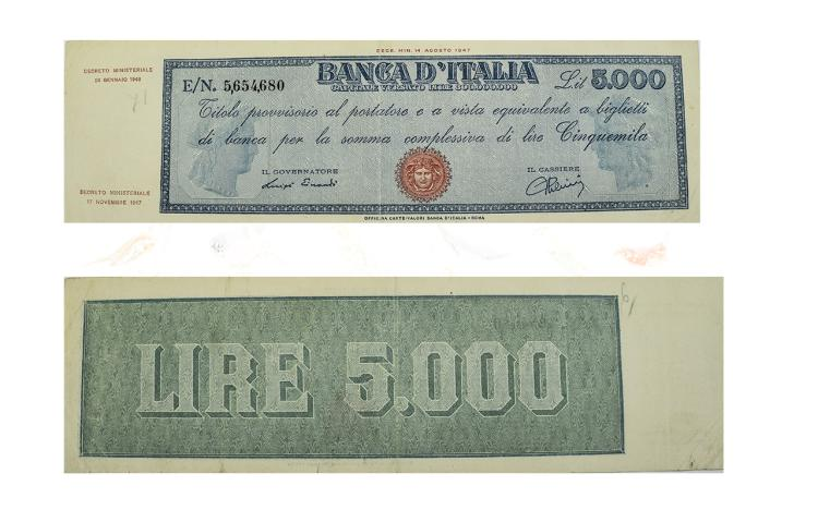 Banca D'Italia 5000 Lire Banknote - Date 14 August