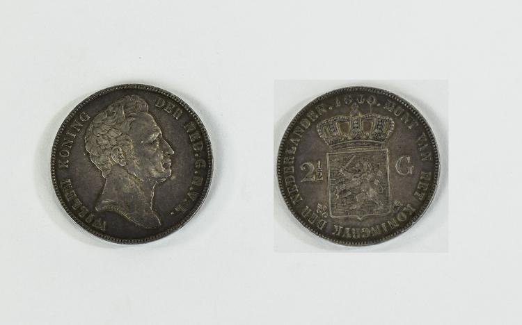 Netherlands King Willem Koning Silver 2.5 Gulden D