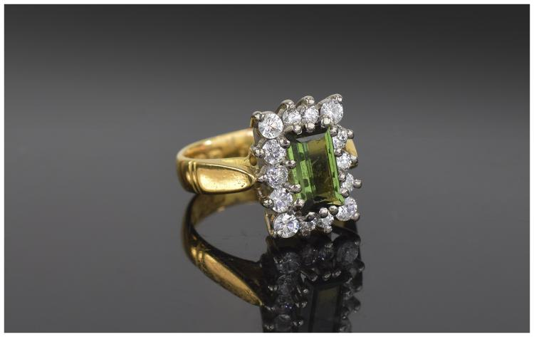 22 Carat Gold Set Dress Ring. The Step Cut Tourmal