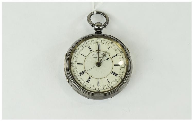 Edwardian Open Faced Large Chronograph Silver Pock