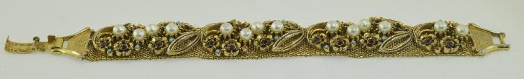 Florenza Gilt Metal Mesh Bracelet Set With Pearl A