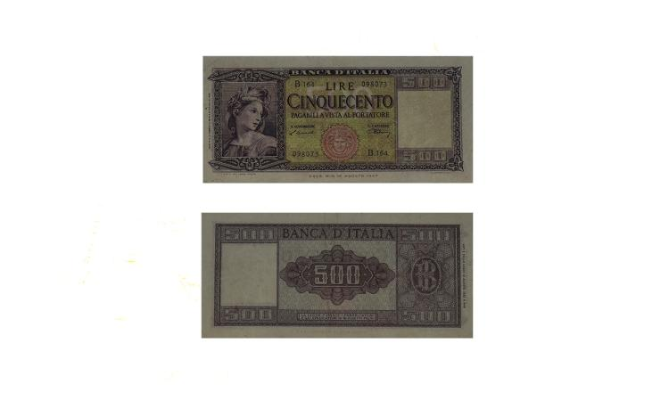 Banco D'Italia 500 Lire, Date 1947 Bank Note - Hig