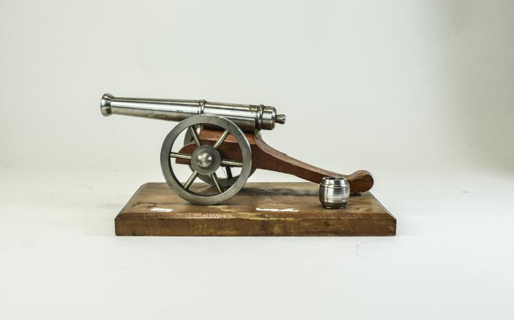 Cast Model Of A Cannon On Wooden Base, 9 x 6 Inche