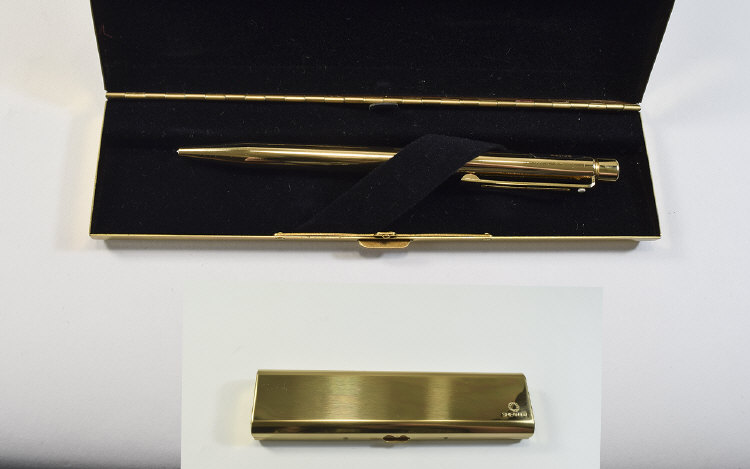 Waterman Delux Gold Plated Ballpoint Pen with Gold