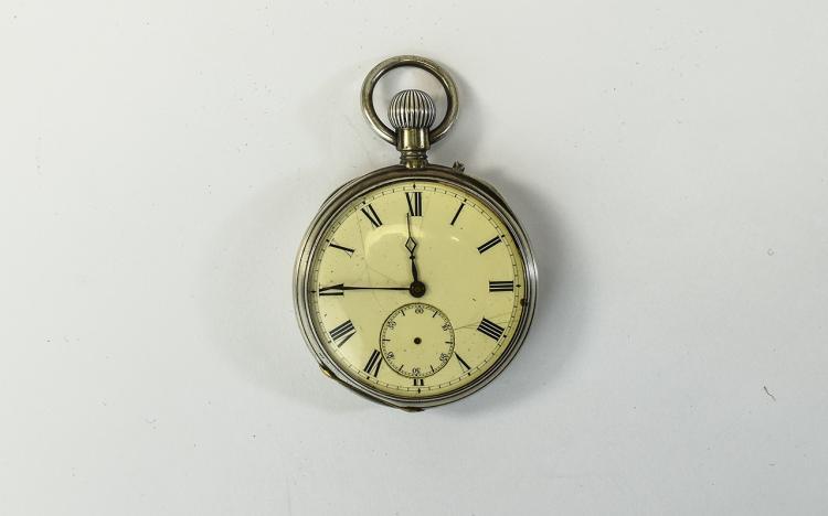 Antique - Keyless Fine Silver Open Faced Pocket Wa