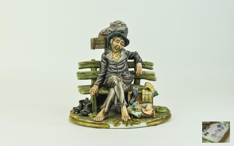 Capodimonte Early Signed Figure ' Tramp on a Bench
