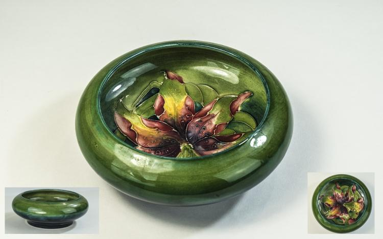 W. Moorcroft Inverted Footed Bowl ' Columbine ' De