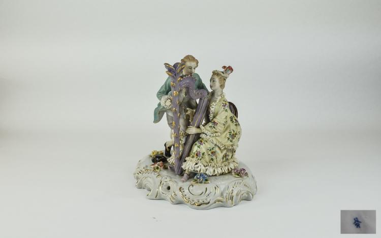 German Late 19thC Handpainted Porcelain Group Figu