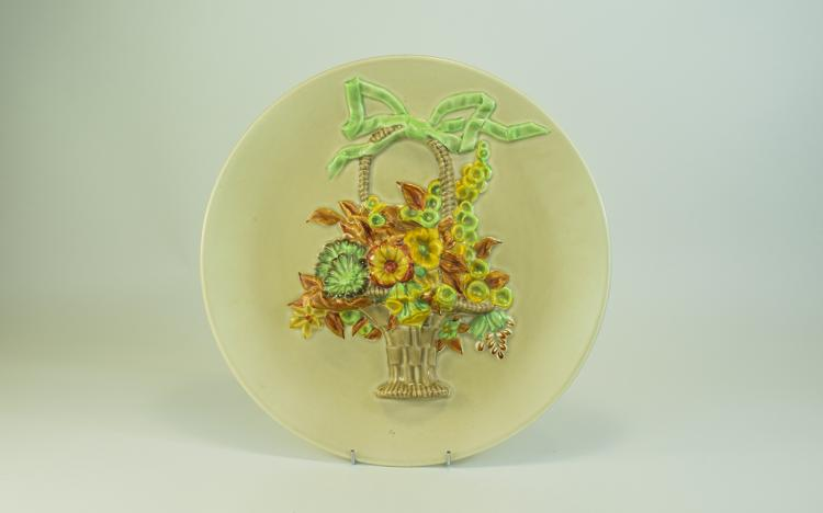 Clarice Cliff Large Circular Floral Wall Plaque '
