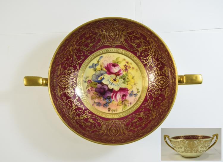 Royal Worcester Hand Painted Twin Handled Bowl ' F