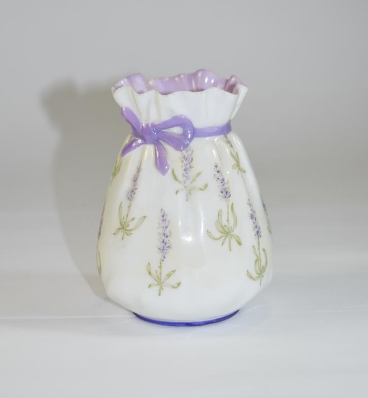 Royal Worcester Hand Painted Lavender Vase. Date 1
