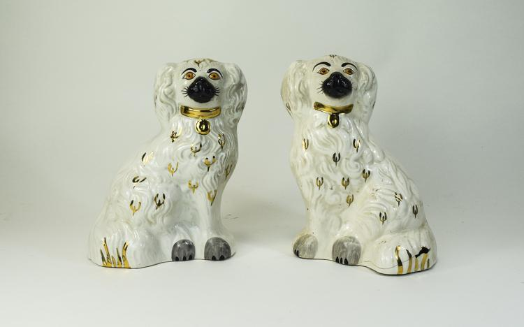 Staffordshire Pair of White and Gold Poodles Figur